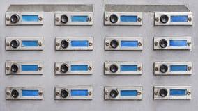 Botones de campana viejos de puerta Fotografía de archivo