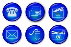 Botones de contacto (azules) Foto de archivo