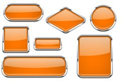 Botones de cristal anaranjados con el marco del cromo Sistema coloreado de iconos brillantes del web 3d stock de ilustración