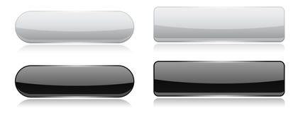 Botones de cristal blancos y negros Iconos brillantes del óvalo y del rectángulo 3d ilustración del vector