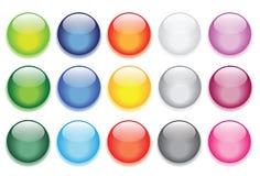 Botones de cristal brillantes para los iconos del Web site Fotografía de archivo