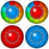 Botones de cristal con los marcos, sistema Imagen de archivo libre de regalías