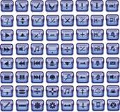 Botones de cristal cuadrados azul marino Stock de ilustración