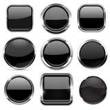 Botones de cristal 3d fijados Negro alrededor e iconos cuadrados con el marco del cromo ilustración del vector