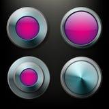 Botones de cristal del color fijados con las fronteras del metal Imagenes de archivo
