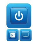 Botones de cristal del vector con los iconos Fotos de archivo libres de regalías
