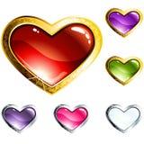 Botones de cristal en forma de corazón coloridos Fotografía de archivo