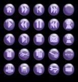 Botones de cristal púrpuras en un fondo negro ilustración del vector