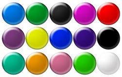 Botones de cristal redondos determinados Fotos de archivo