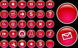 Botones de cristal rojos Imagen de archivo libre de regalías