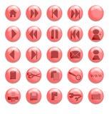 Botones de cristal rojos Foto de archivo libre de regalías