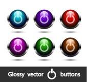 Botones de encendido brillantes del vector Fotografía de archivo libre de regalías