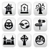 Botones de Halloween fijados Fotografía de archivo
