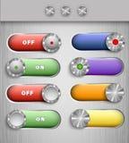 Botones de interruptor del vector del color Imágenes de archivo libres de regalías