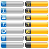 Botones de la bandera con los iconos 2 del Web Imagen de archivo