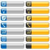 Botones de la bandera con los iconos 6 del Web Fotografía de archivo libre de regalías