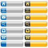 Botones de la bandera con los iconos del Web Foto de archivo libre de regalías
