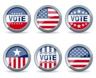 Botones de la campaña electoral de de los E.E.U.U. Foto de archivo