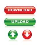 Botones de la carga por teletratamiento y de la transferencia directa stock de ilustración