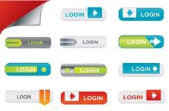 Botones de la conexión del vector, elementos del Web site Imagenes de archivo