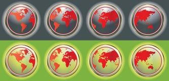 Botones de la correspondencia de mundo stock de ilustración