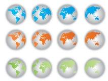 Botones de la correspondencia de mundo ilustración del vector