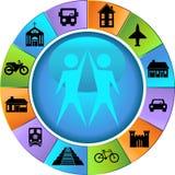 Botones de la destinación del recorrido - rueda Imagen de archivo