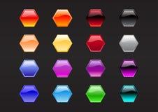 Botones de la dimensión de una variable del hexágono Fotografía de archivo libre de regalías