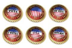Botones de la elección presidencial 2012 de Barack Obama Fotografía de archivo