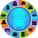 Botones de la impresora - rueda Foto de archivo libre de regalías