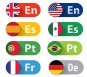 Botones de la lengua Imagen de archivo