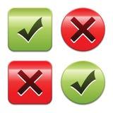 Botones de la marca de verificación Imagenes de archivo