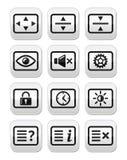 Botones de la pantalla de monitor del ordenador TV fijados Fotografía de archivo