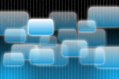 Botones de la pantalla táctil y código binario en fondo Fotos de archivo