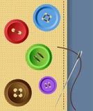 Botones de la ropa con la aguja stock de ilustración