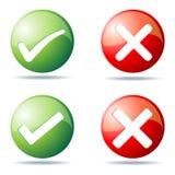 Botones de la señal y de la cruz Fotos de archivo libres de regalías