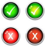 Botones de la señal y de la cruz Imagen de archivo libre de regalías