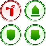 Botones de la seguridad. Fotografía de archivo