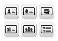 Botones de la tarjeta de visita fijados Fotografía de archivo