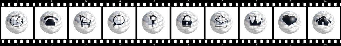 Botones de la tira de la película Imagenes de archivo
