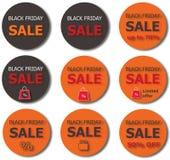 Botones de la venta de Black Friday ilustración del vector