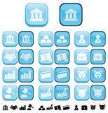 Botones de las finanzas con efecto empujado Imágenes de archivo libres de regalías