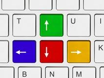 Botones de las flechas en el teclado de ordenador Imágenes de archivo libres de regalías