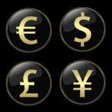 Botones de las muestras de dinero en circulación Fotos de archivo libres de regalías