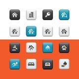 Botones de las propiedades inmobiliarias Foto de archivo libre de regalías