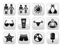 Botones de los días de fiesta de la playa del verano fijados Foto de archivo libre de regalías