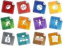 Botones de los deportes - etiqueta engomada Foto de archivo