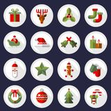 Botones de los iconos de la Navidad fijados Foto de archivo libre de regalías