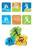 Botones de los iconos del Triathlon Fotos de archivo libres de regalías