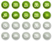Botones de los iconos del Web del organizador, verdes y grises del círculo Fotos de archivo libres de regalías